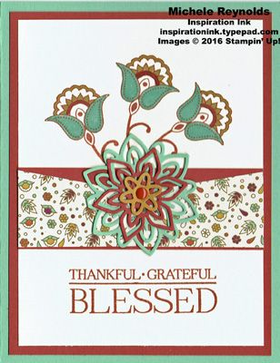 Handmade thank you card using Stampin' Up! products - Paisleys & Posies Photopolymer Stamp Set, Petals & Paisleys Specialty Designer Series Paper, Enamel Shapes, and Paisleys Framelits.  By Michele Reynolds, Inspiration Ink.