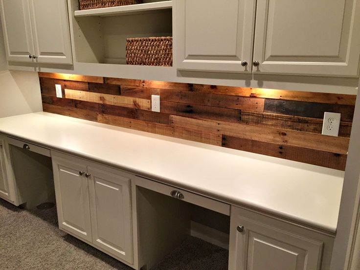 Pallet Wood Wall with built in desk