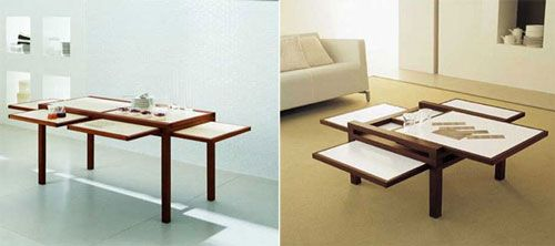 Extendable coffee table with sliding leaves