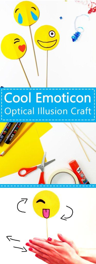 Amazing and simple emoticon optical illusion DIY. This cool craft for kids is lots of fun, and suitable for boys or girls, and excellent for parties. www.janehayescreative.com