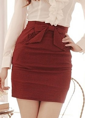 Waist Bowtie Ladies Work Skirts Red. Just a little longerer would be fine, about knee length