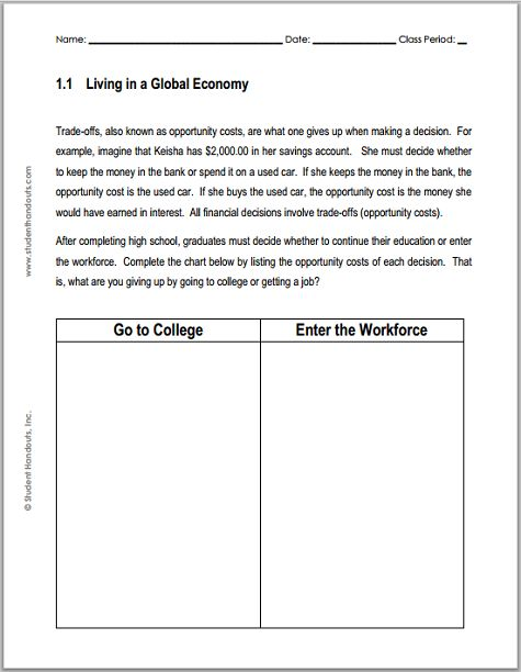 Worksheets College Cost Worksheet opportunity cost worksheets 17 best ideas about on pinterest dave ramsey
