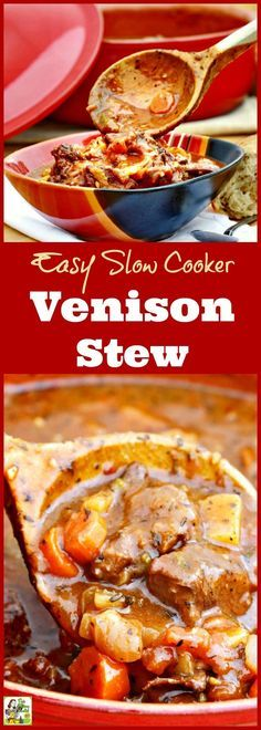 Got venison? Click here to get this Easy Slow Cooker Venison Stew recipe! It's the best crock pot venison stew you'll find. This easy to make venison stew is gluten free and filled with vegetables. #slowcooker #crockpot #stew #venison #beef #meat #glutenfree #easyrecipe
