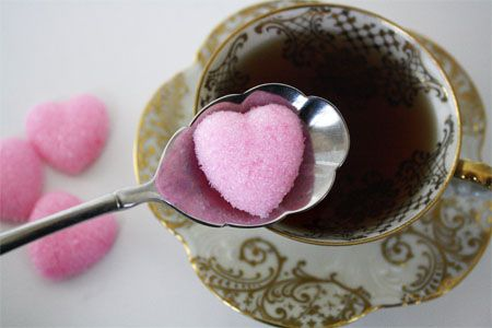 DIY: How to make pink heart sugar cubes.