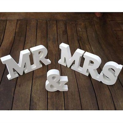 Mr & Mrs Wedding Reception Sign Solid Wooden Letters Table Top Centrepiece Decor