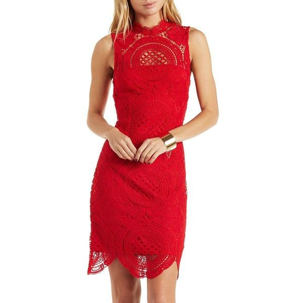 Charlotte Russe Red Mock Neck Sleeveless Medallion Lace Dress by... ($30) ❤ liked on Polyvore featuring dresses, red, red dress, short red dress, bodycon mini dress, see through dress and short lace cocktail dress