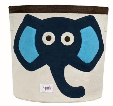 3 Sprouts Storage Bin - Blue Elephant    Price: $49.95    Description:    Super cute and stylish Blue Elephant storage bin by 3 Sprouts!    Made of a heavy cotton canvas the storage bin is tough enough to hold whatever you throw in it but cute enough to compliment the best dressed home. A great space saver - bin folds easily away when not in use.