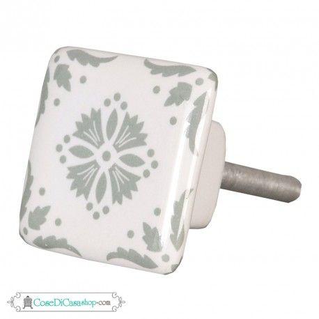 Pomello quadrato in ceramica bianca decorata cm 3,5x3,5