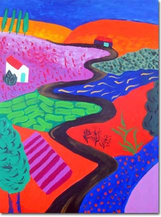 Rana Bissat / Landscape in Memory of David Hockney, 2004, 80 x 60 cm, Painting and Acrylics on canvas