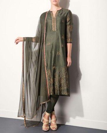 Olive Green Kurta Set with Golden Embellishments by AM:PM #Anarkali #KurtaSet #Prints #Dress #Quirky #Motifs #Embroidery #Floral #Black #Brown #India #Blue #Fuchsia #Designer #Indian #Luxury #Ethnic #DesignerWear #Fashion #AnkurModi #PriyankaModi #ExclusivelyIn #AMPM #Style