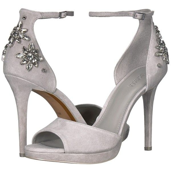 MICHAEL Michael Kors Patti Platform (Pearl Grey Kid Suede/Jewels) High... ($165) ❤ liked on Polyvore featuring shoes, sandals, strappy platform sandals, strappy high heel sandals, strappy sandals, grey high heel sandals and open toe sandals