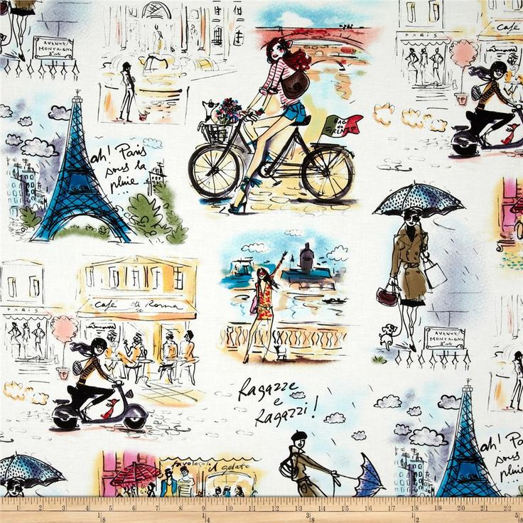 Who 39 S That Girl Paris Collage White From Fabricdotcom