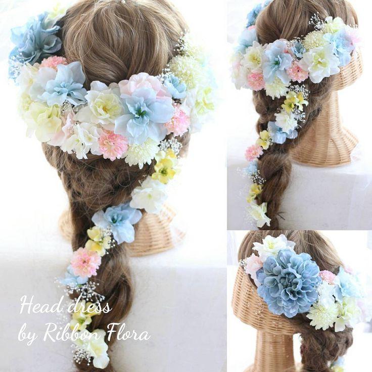 オーダーメイド☆ ヘッドパーツluxury☆ ブルーを貴重にポイントでピンクを❤ ディズニーの映画に出てきそうないろあわせ♪ ウェディングドレスにもカラードレスにもぴったりです❤ Mail: info@ribbonflora.com レッスンにつきましては@ribbon.flora.lesson を♪