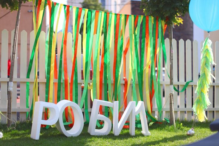 place to take pictures with coloured ribbons and Styrofoam letters