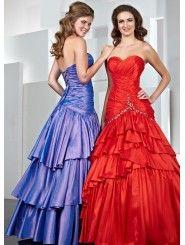 Taffeta Sweetheart Gathered Bodice Long Prom Dress