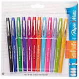 Paper Mate Flair Porous-Point Pens, Medium Point, 1.0 mm, Assorted Barrels, Assorted Ink Colors, Pack Of 12