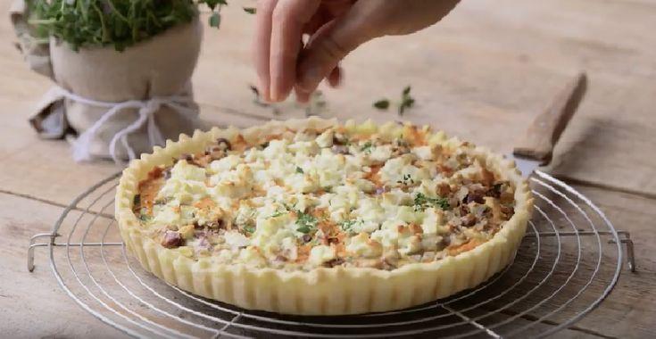 Een vegetarische quiche maken met wortel, geitenkaas en noten #recept