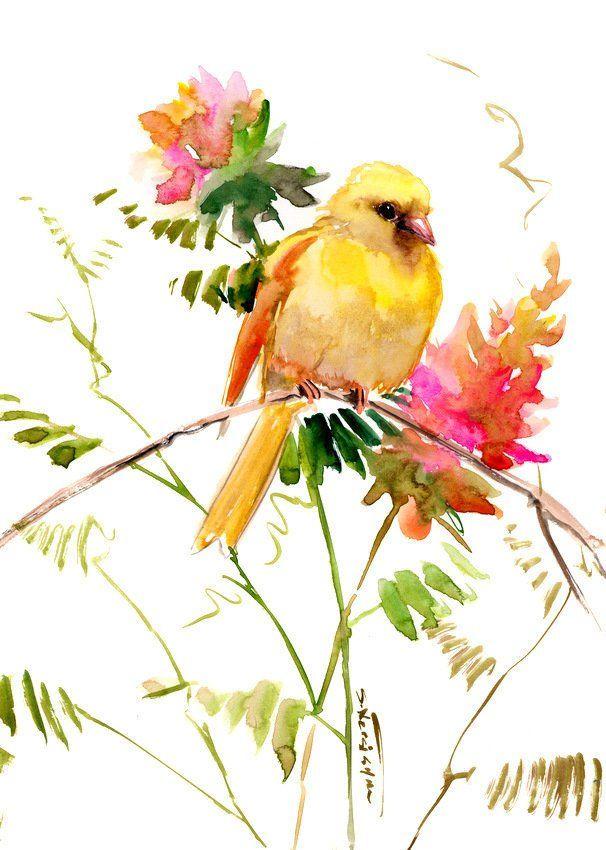 Beautiful Bird Painting Wall Art Peach Yellow Colors Canary