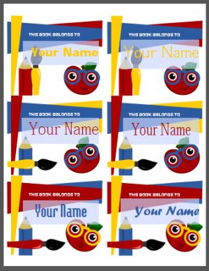 Cute name stickers for school--PRINTABLE.