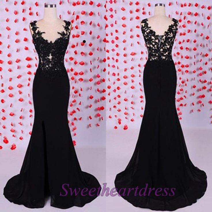 Black lace prom dress, 2016 side slit long ball gown for teens www.3cgirls.com/... #coniefox #2016prom