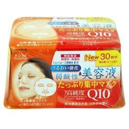 Kose Clear Turn Essence Facial Mask with CoQ10 and Glycerin - 30 masks by Kose. $19.99. Uses deep ocean water to hydrate skin and keep skin soft.     Three-layer soft sheet made with environmentally friendly materials holds more liquid and fits curves of your face well.     Weakly acidic, no fragrance, no colorant, and no alcohol. .     26 Masks in their own convenient storage container.     Made in Japan, comes with English usage instructions and ingredients.. Cle...
