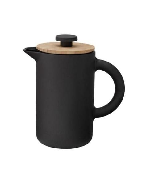 French press coffee maker. Made in matt black stoneware with a soft glaze, with wooden lid. Perfect for 2 people. Designed by FRANCIS CAYOUETTE. Part of the Nordic range.