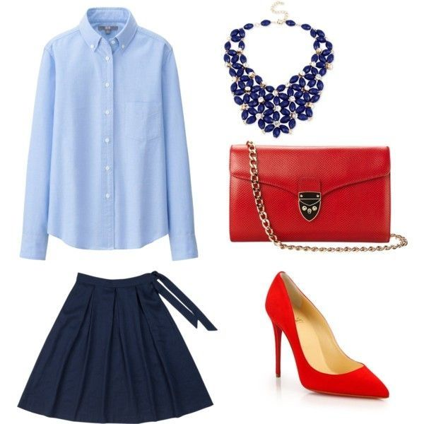 This is an outfit from my blog where I created three outfits all using the same blue oxford shirt (for women)! #fashion #fashionblog #blog #blogger #dallasblog #dallasblogger #dallasfashion #fashionblogger #blue #oxford #shirt #oxfordshirt #navy #skirt #navyskirt #red #pump #redpumps #redbag - Check it out: http://www.glamhive.com/look/55943e57e4b0cb4c146d3b1b