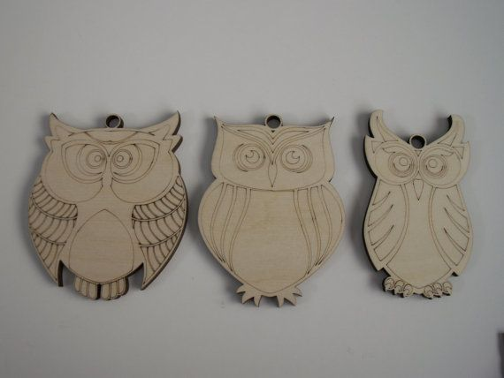 Assorted Owls Wood Shape Ornaments  This listing is for a set of 3 pieces. Material: Baltic Birch, 1/4 thick.  Laser Cut. Unfinished . Can be painted, glittered, varnished, stained, etc.  Great for Christmas decorations, decorating wreaths, ornaments, magnets and other DIY projects.  Price is for the set of 3 pieces. ( You will receive 1 of each style shown)  Size: Approximately 3 x 4 (Please see pictures for more specific size illustration)  Other sizes available. Custom orders availabl...