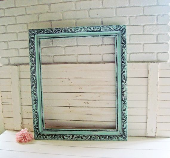 large ornate mint frame green distressed open by willowsendcottage - Mint Picture Frames