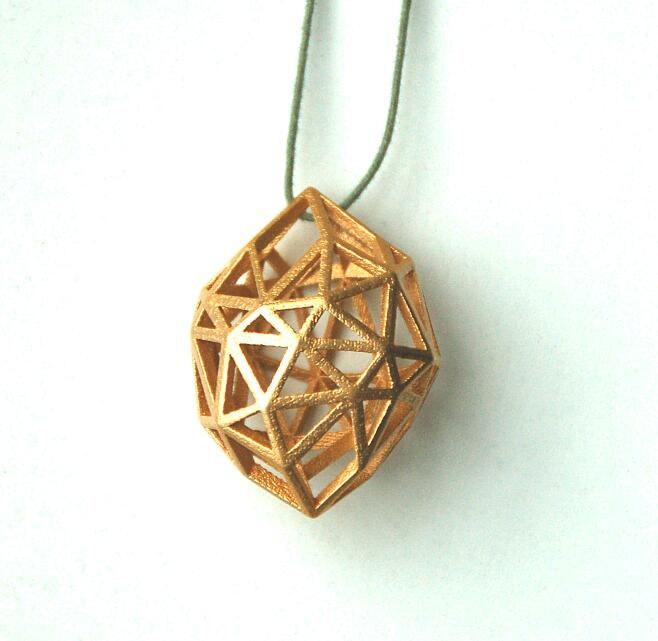 Gold Plated Rough Diamond 3D printed by MCODEjewellery