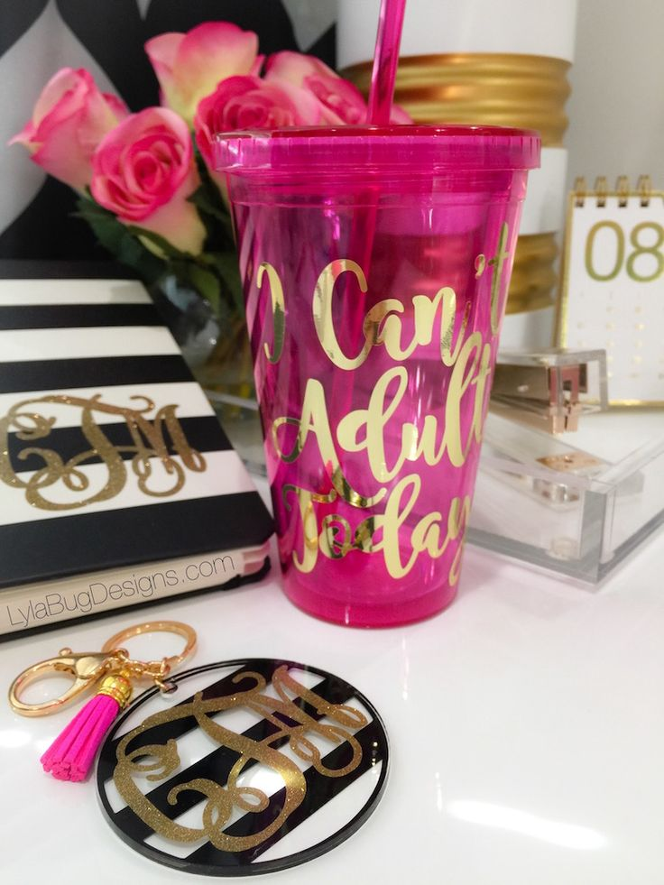 I Can't Adult Today Personalized Tumbler - LylaBug Designs  Kate Spade Planner - Striped Monogram Keychain
