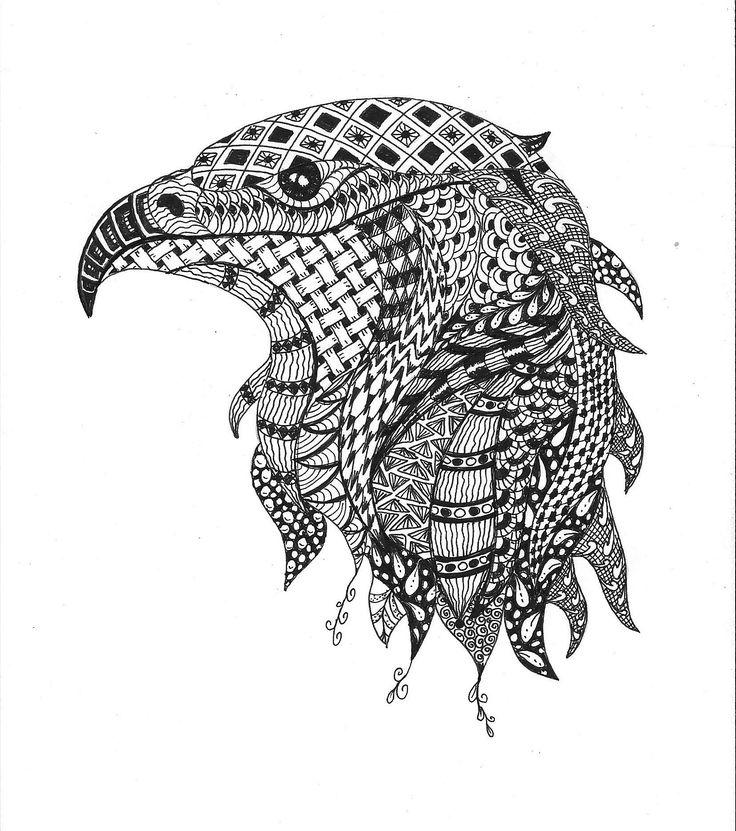 Eagle in Zentangle stile. Made of Erika Székesvári. More pictures https://www.facebook.com/ercziart/