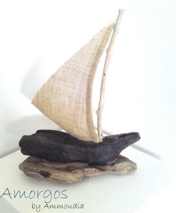 Amorgos  Driftwood sailboat with sail from burlap  by AMMOUDIA, $40.00