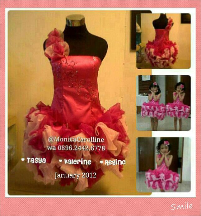 Girls dresses pink with poof or tutu. DIY by Onic Kebaya Gown @MonicaCarolline / wa : +6289624426778 PIN BB : 29D5461F / 2B23814D  Kebaya Gown Maker Rent Sewing Sale Store.