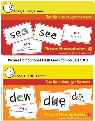 I See, I Spell, I Learn - Picture Homophones Flashcards Sets 1 & 2 Combo Pack by I See, I Spell, I LearnTM. Save 13 Off!. $39.99. A top resource for all English language learners of any age including non-English speakers learning English as a second language.. Emerging readers (Ages 3 and above) love these picture cards and master reading faster.. Flashcards with Fun Picture Cues and Images that help children read, spell and understand homophones.. Excellent resource for schoo...