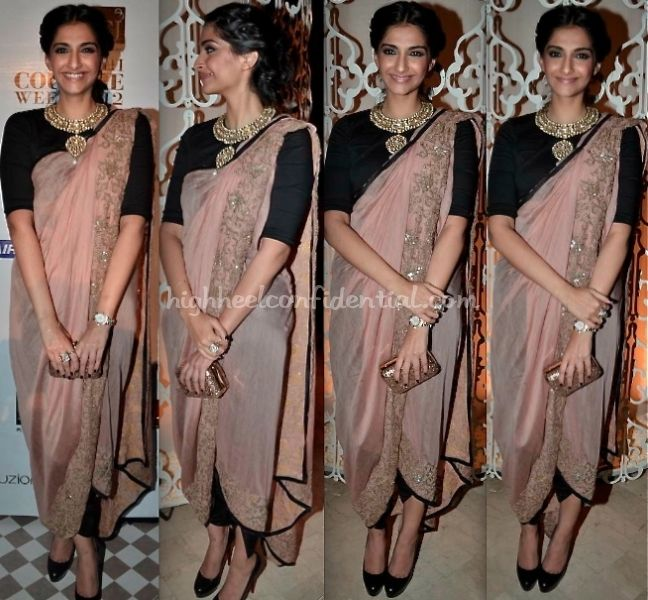 how to do statement necklace in a crew neck blouse. nevermind the draping of the saree- a bit toooo modern for a wedding.