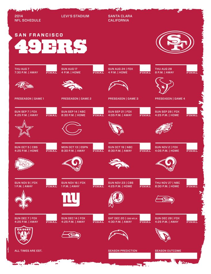 San Francisco 49ers 2014 NFL Schedule