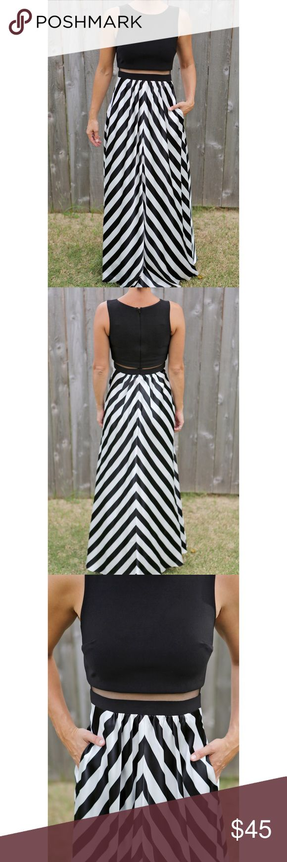 Betsy & Adam prom dress size 2 Beautiful long Betsy & Adam striped dress with pockets Size 2.  Great for Prom Betsy & Adam Dresses Prom
