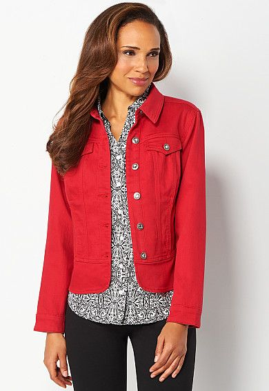 creative red jean jacket outfit 14