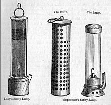 Stephenson's safety lamp shown with Davy's lamp on the left