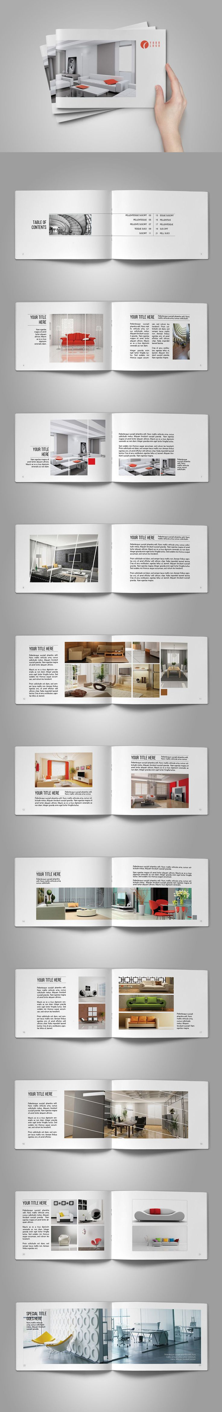 Interior Design Brochure Template InDesign INDD - 24 Pages, A5 Landscape