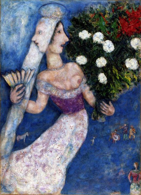 MARC CHAGALL The Bride with Two Faces (La mariée à double face), 1927 Oil on canvas transposed, relined 99 4/5 × 73 in 253.5 × 185.4 cm © Archives Marc et Ida Chagall. © 2012 Artists Rights Society (ARS), New York / ADAGP, Paris / Image provided by Dallas Museum of Art Oil on canvas transposed, relined 99 4/5 × 73 in 253.5 × 185.4 cm © A...