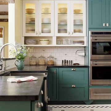 A Punch of Color - cool color: Kitchens Design, Cabinets Colors, Kitchens Colors, Open Shelves, Upper Cabinets, Kitchens Ideas, Teal Cabinets, Two Tones, Kitchens Cabinets