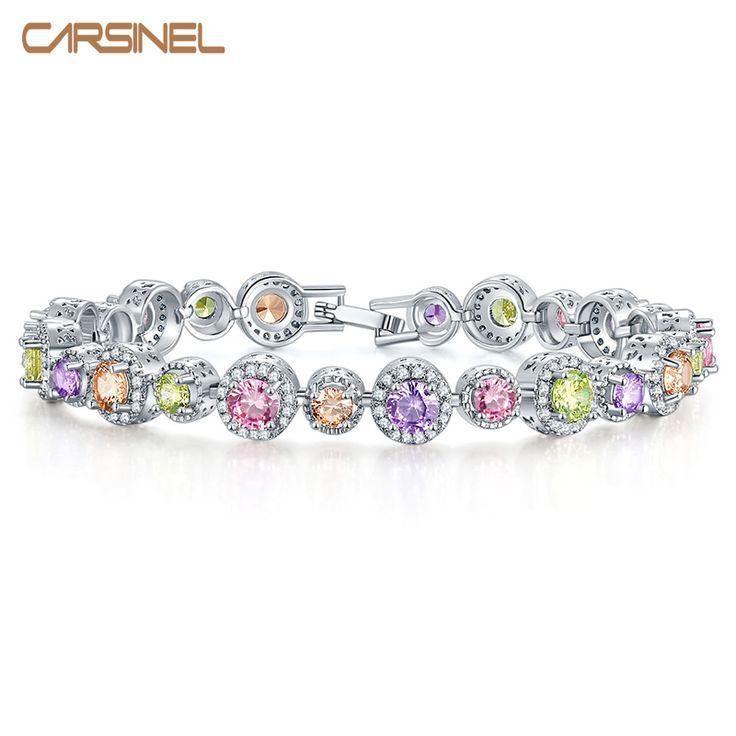 US $5.70 -- Carsinel цвета серебра способа браслеты Vintage Круглый Циркон Свадебные украшения Аксессуары для женщин браслеты купить на AliExpress