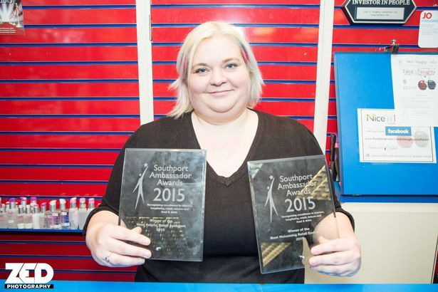 Michelle Cooper, of the Nice 'n' Naughty shop in Southport, won the Most Welcoming Retail Assistant award at Southport Ambassador Awards 2015. Nice 'n' Naughty won the Most Welcoming Retail Environment award. Photo by Zack Downey of ZEDPhotography