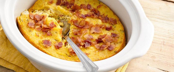 This deliciously easy bacon and corn pudding is just 5 ingredients and 10 minutes prep away!