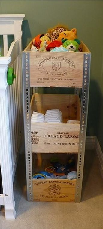 upcycled Wood Crates, add the corner metal pieces to create home storage shelves; Upcycle, recycle, salvage, diy, repurpose!  For ideas and goods shop at Estate ReSale & ReDesign, Bonita Springs, FL