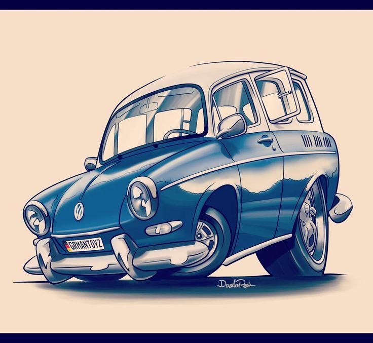 VW Squareback, commissioned toon.