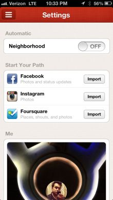 Path update brings Facebook, Instagram and Foursquare import feature to existing users