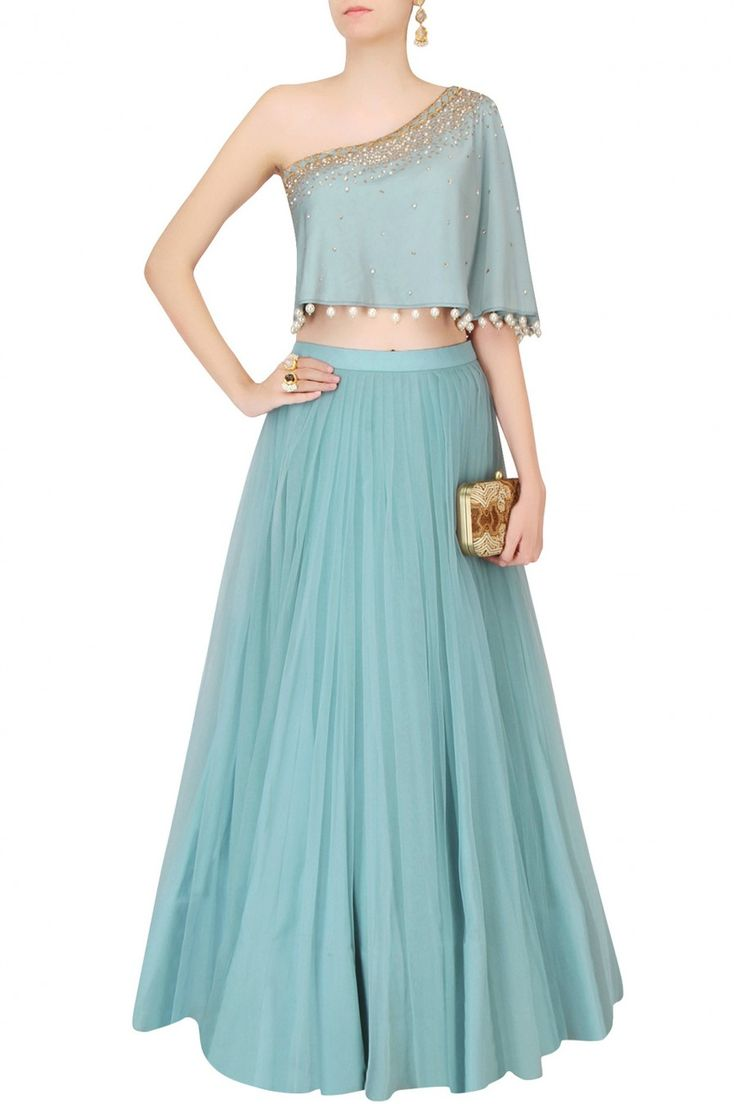 MONIKA NIDHII Frost Blue Sequinned Cape Top With Tulle Skirt